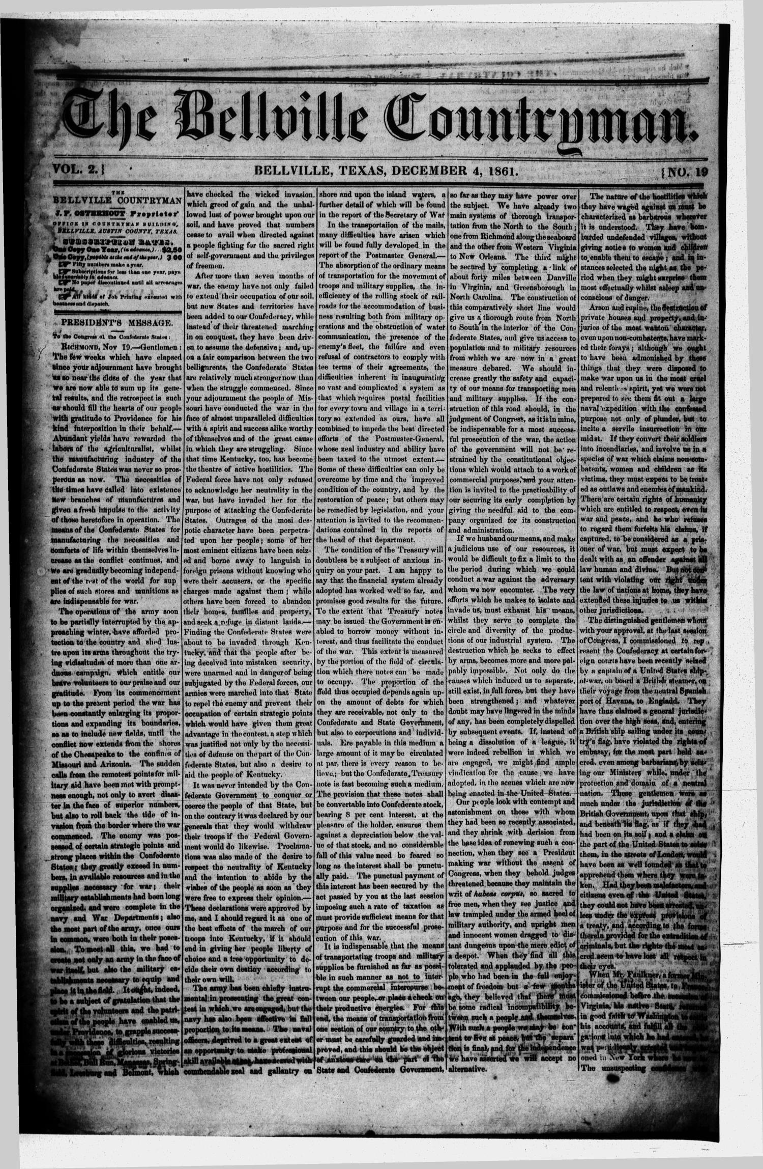 The Bellville Countryman (Bellville, Tex.), Vol. 2, No. 19, Ed. 1 Wednesday, December 4, 1861                                                                                                      [Sequence #]: 1 of 4