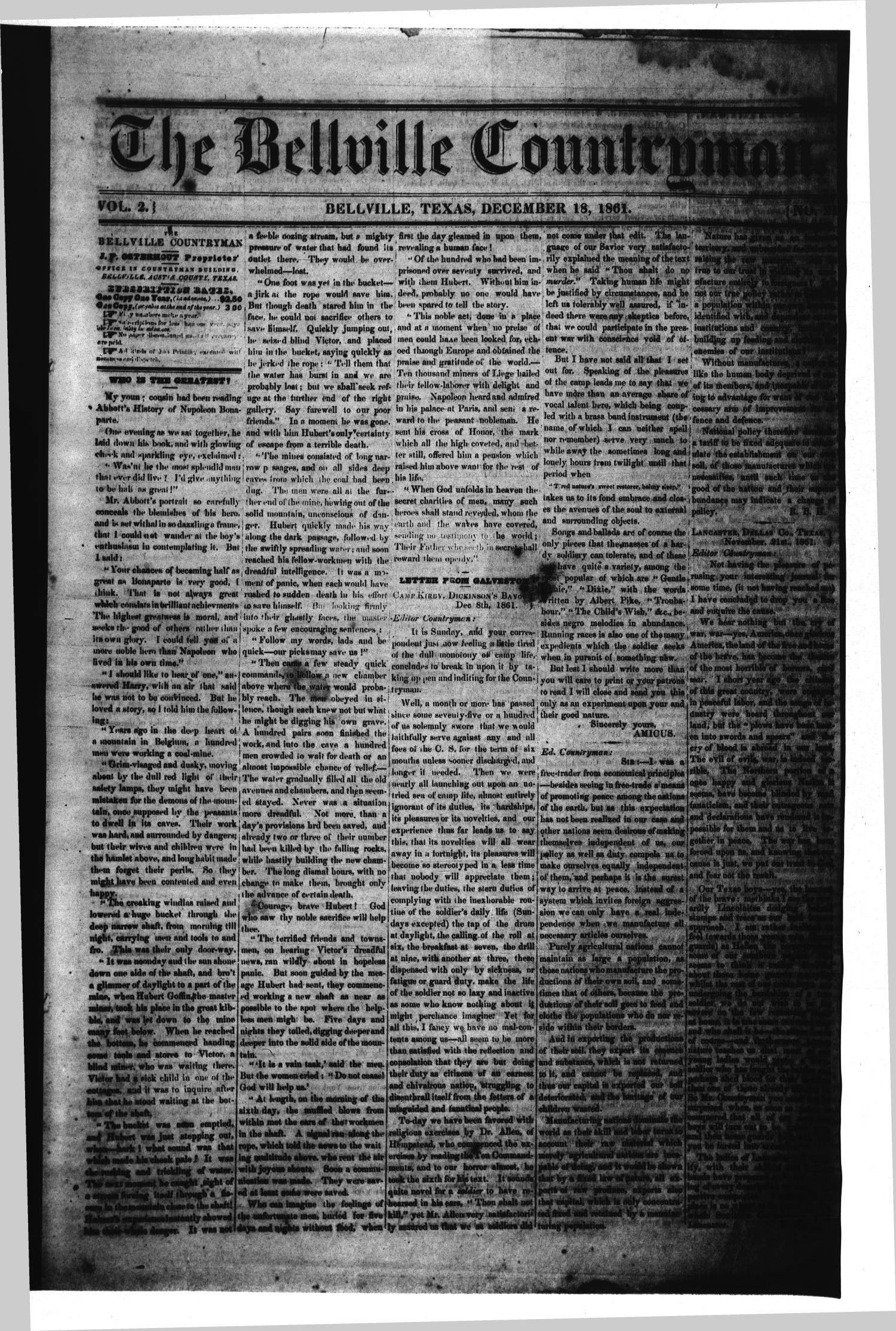 The Bellville Countryman (Bellville, Tex.), Vol. 2, No. 21, Ed. 1 Wednesday, December 18, 1861                                                                                                      [Sequence #]: 1 of 4