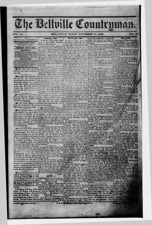 Primary view of object titled 'The Bellville Countryman (Bellville, Tex.), Vol. 3, No. 16, Ed. 1 Saturday, November 15, 1862'.