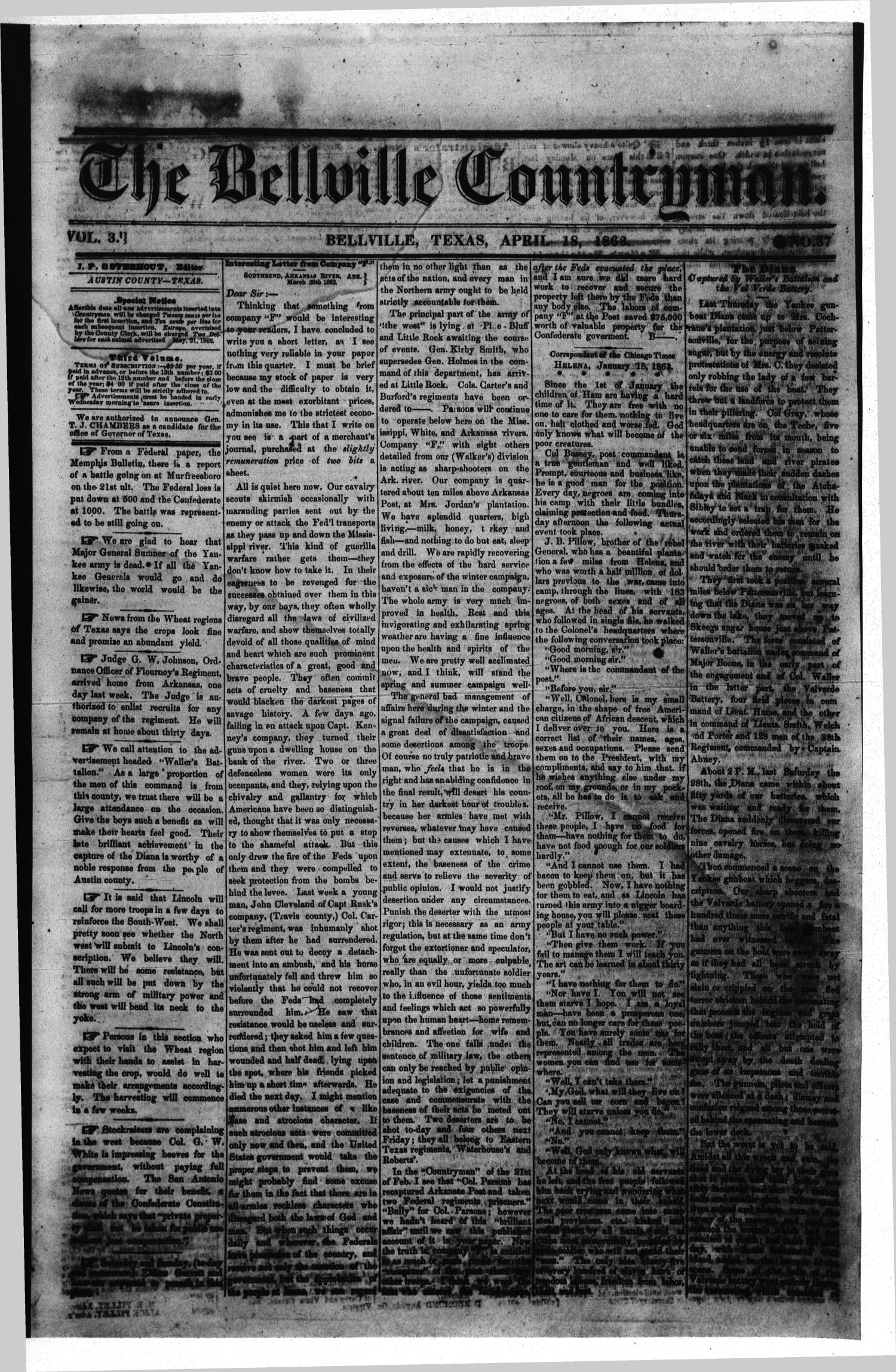 The Bellville Countryman (Bellville, Tex.), Vol. 3, No. 37, Ed. 1 Saturday, April 18, 1863                                                                                                      [Sequence #]: 1 of 2