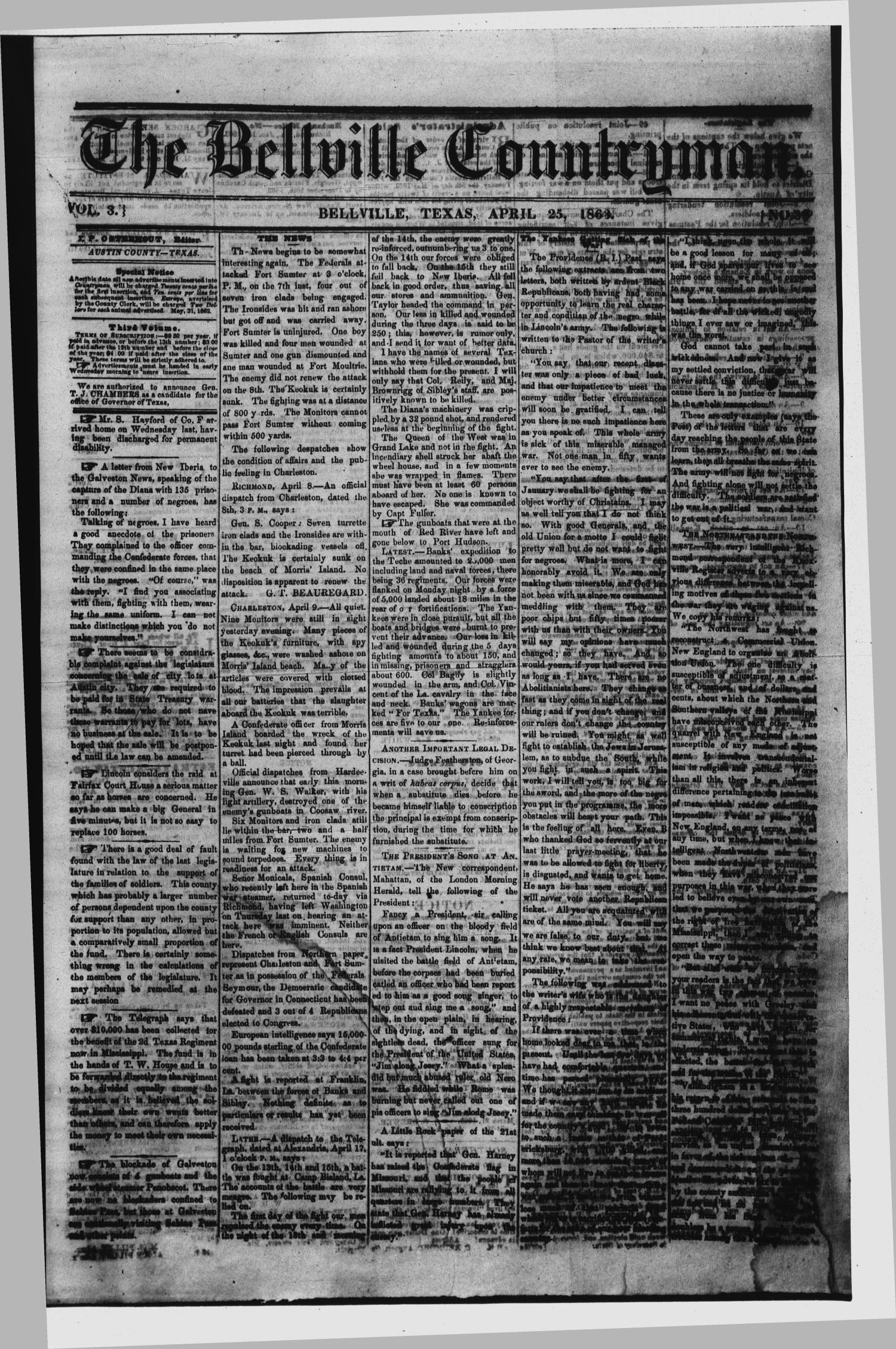 The Bellville Countryman (Bellville, Tex.), Vol. 3, No. 38, Ed. 1 Saturday, April 25, 1863                                                                                                      [Sequence #]: 1 of 2