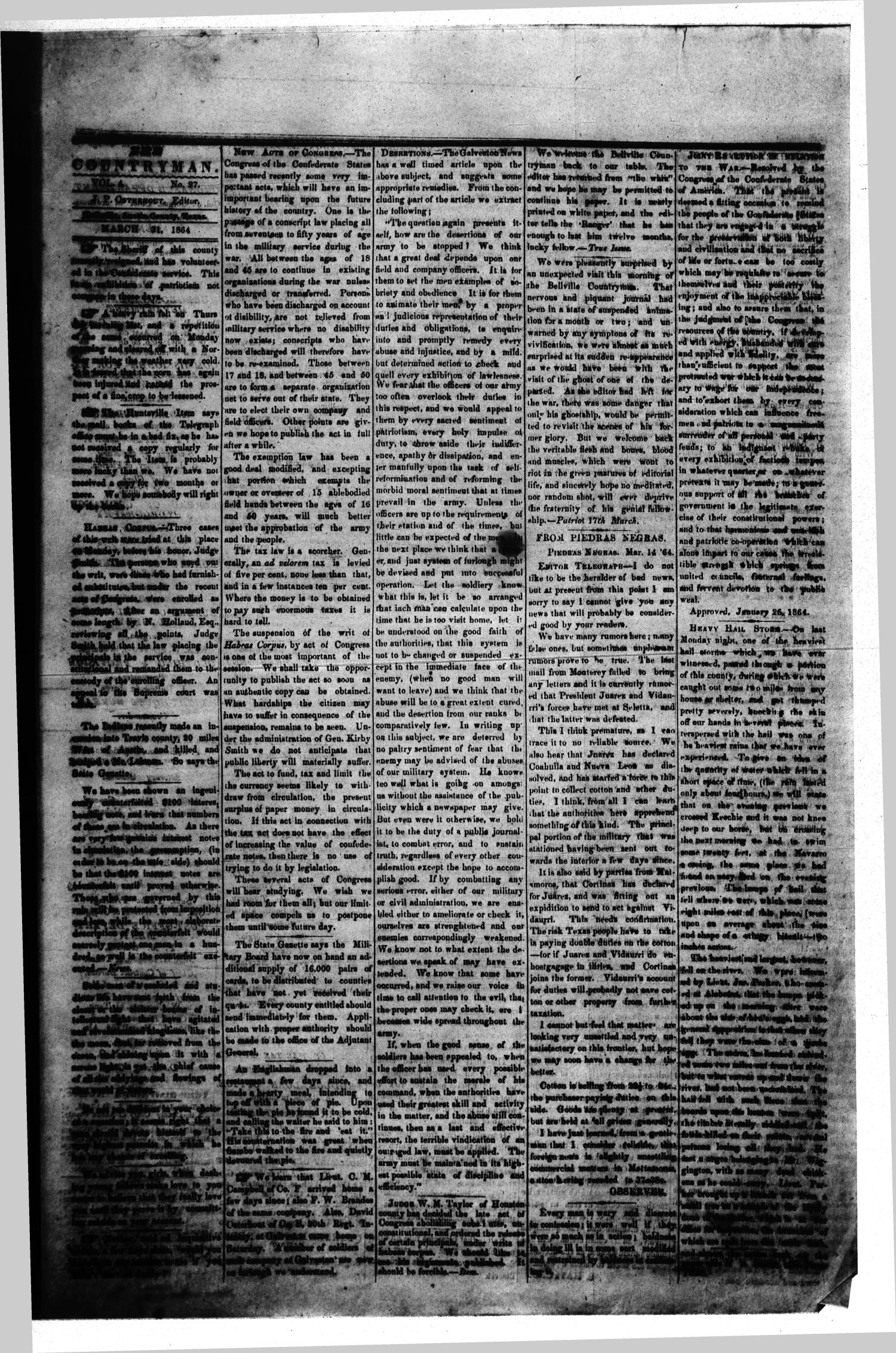 The Bellville Countryman (Bellville, Tex.), Vol. 4, No. 27, Ed. 1 Thursday, March 31, 1864                                                                                                      [Sequence #]: 1 of 2