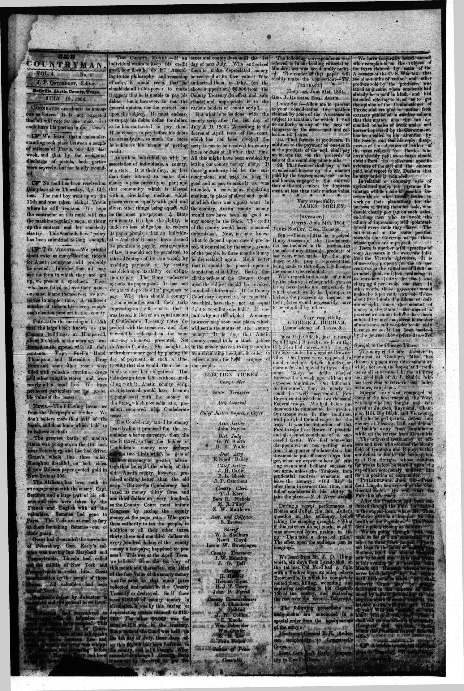 The Bellville Countryman (Bellville, Tex.), Vol. 4, No. 43, Ed. 1 Tuesday, July 19, 1864                                                                                                      [Sequence #]: 1 of 2