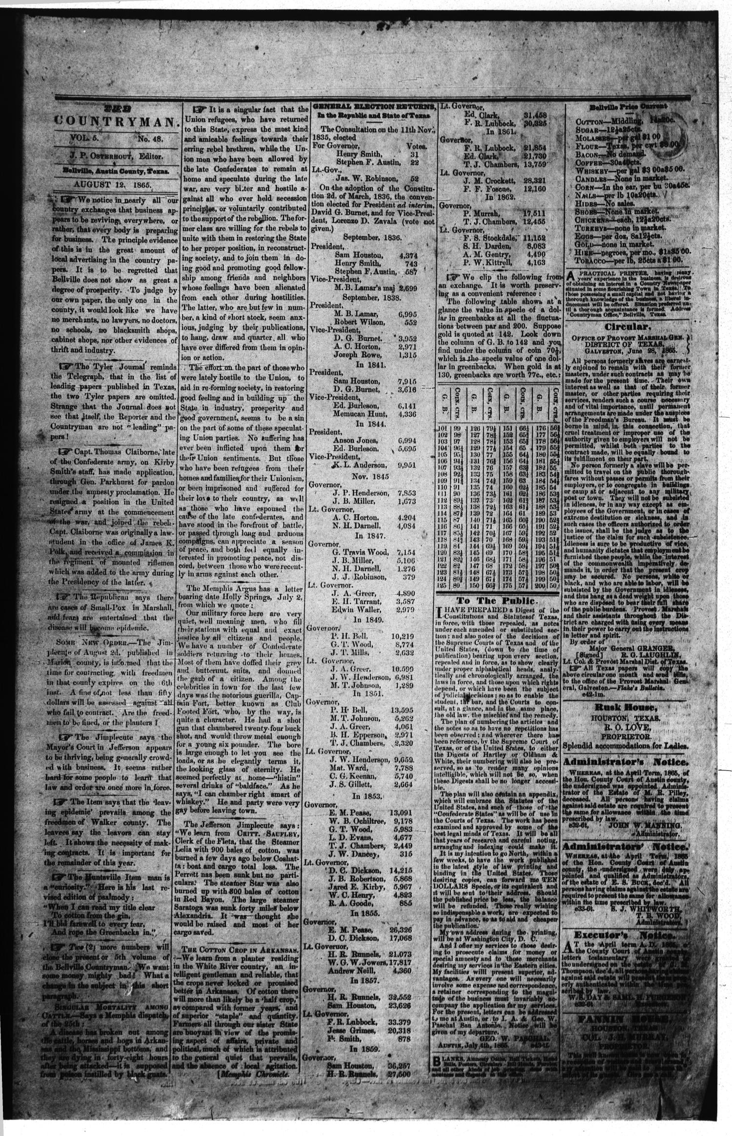 The Bellville Countryman (Bellville, Tex.), Vol. 5, No. 48, Ed. 1 Saturday, August 12, 1865                                                                                                      [Sequence #]: 2 of 2