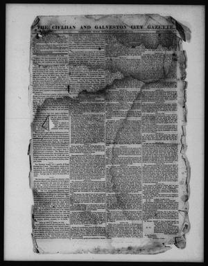 Primary view of object titled 'The Civilian and Galveston City Gazette. (Galveston, Tex.), Ed. 1 Saturday, January 21, 1843'.