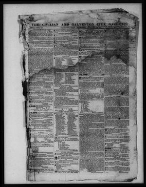 Primary view of object titled 'The Civilian and Galveston City Gazette. (Galveston, Tex.), Ed. 1 Wednesday, February 15, 1843'.