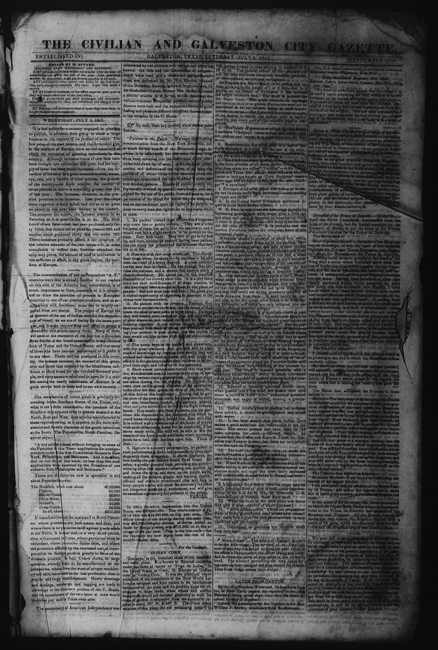 The Civilian and Galveston City Gazette. (Galveston, Tex.), Ed. 1 Saturday, July 8, 1843                                                                                                      [Sequence #]: 1 of 4