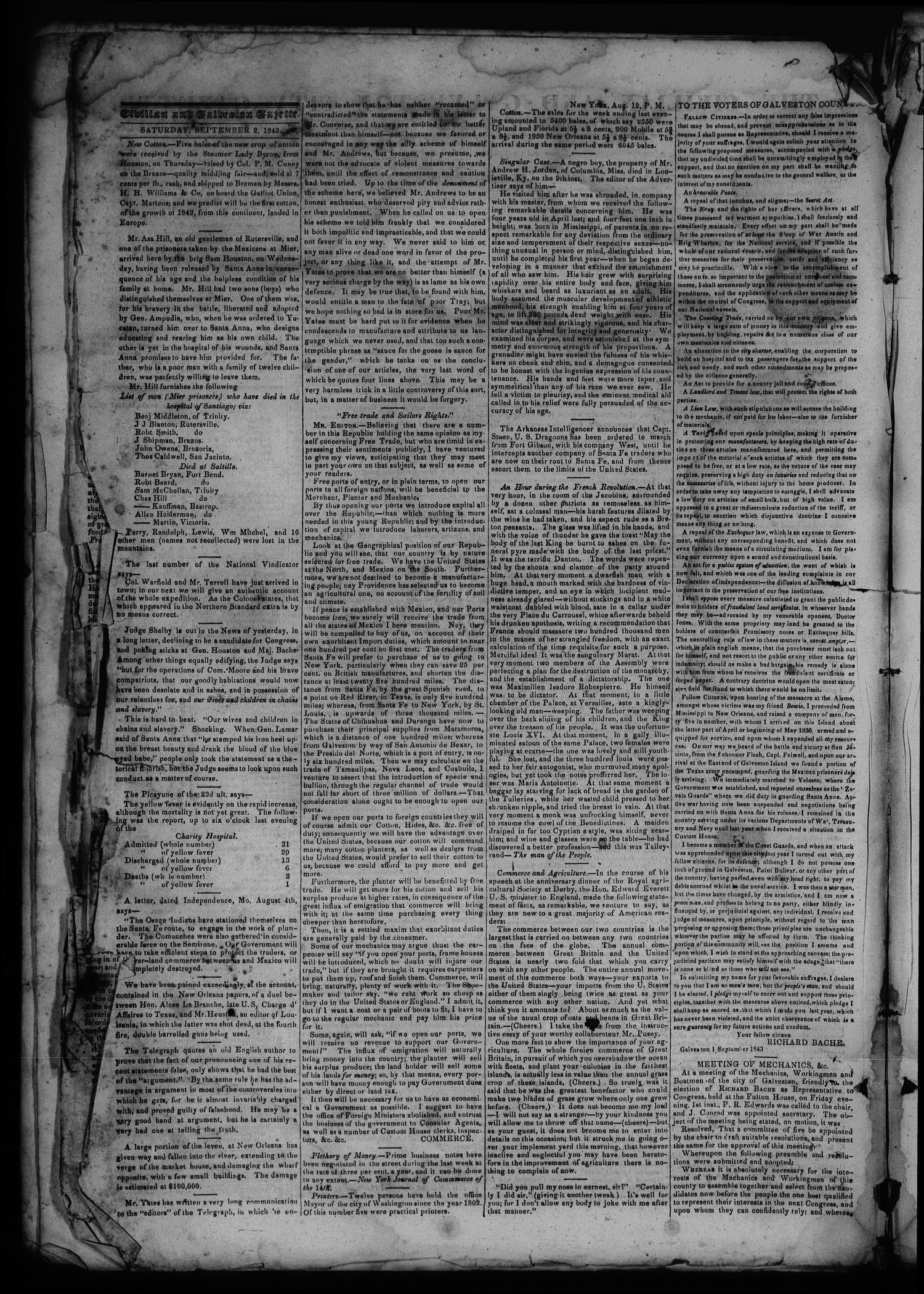 The Civilian and Galveston City Gazette. (Galveston, Tex.), Ed. 1 Saturday, September 2, 1843                                                                                                      [Sequence #]: 2 of 4