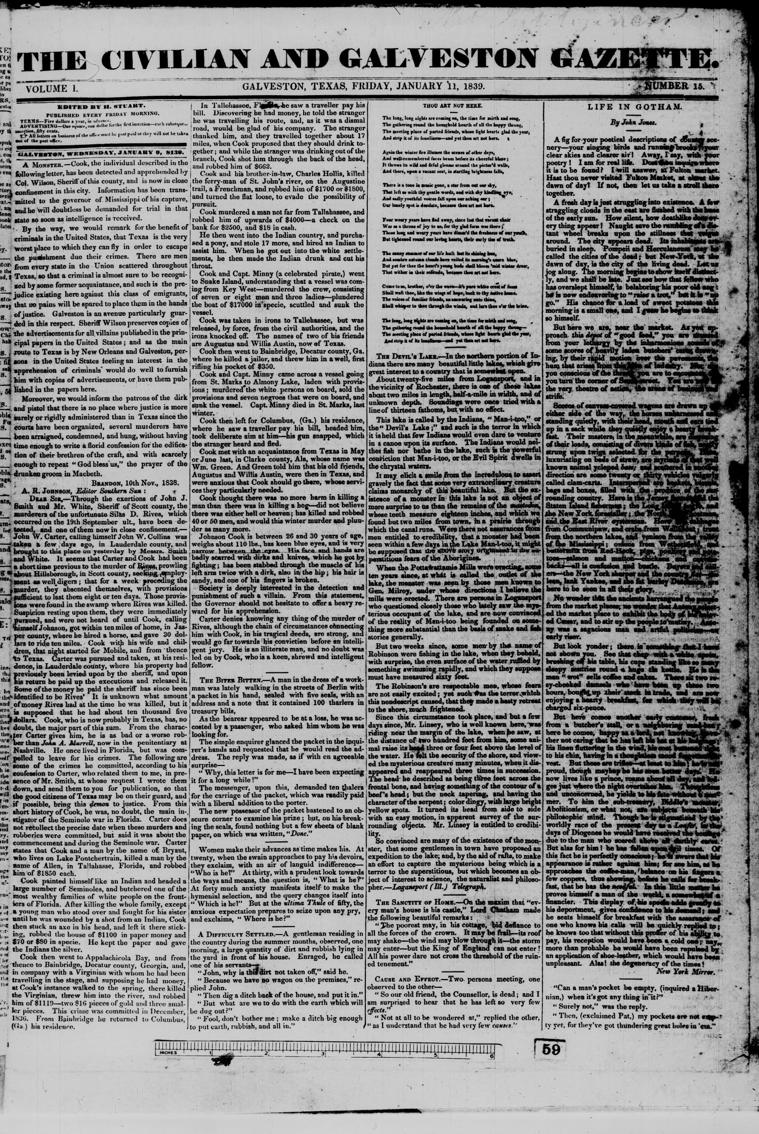 The Civilian and Galveston Gazette. (Galveston, Tex.), Vol. 1, No. 15, Ed. 1 Friday, January 11, 1839                                                                                                      [Sequence #]: 1 of 4