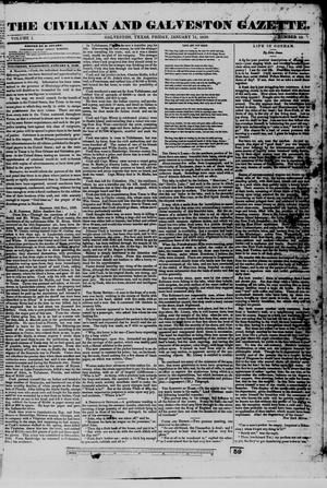 Primary view of object titled 'The Civilian and Galveston Gazette. (Galveston, Tex.), Vol. 1, No. 15, Ed. 1 Friday, January 11, 1839'.