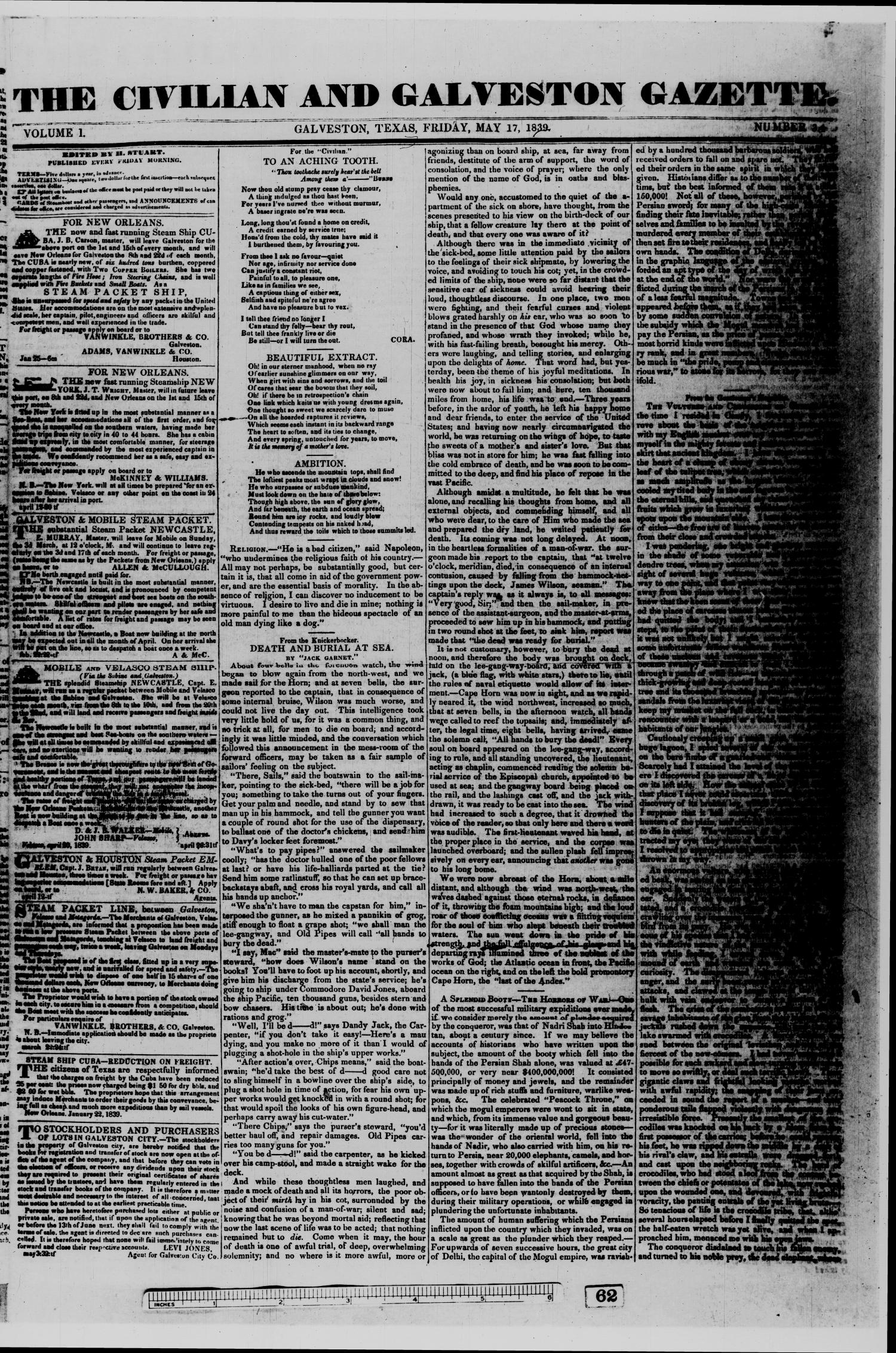 The Civilian and Galveston Gazette. (Galveston, Tex.), Vol. 1, No. 34, Ed. 1 Friday, May 17, 1839                                                                                                      [Sequence #]: 1 of 4