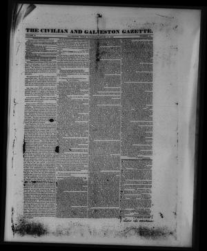 Primary view of object titled 'The Civilian and Galveston Gazette. (Galveston, Tex.), Vol. 2, No. 20, Ed. 1 Saturday, January 18, 1840'.