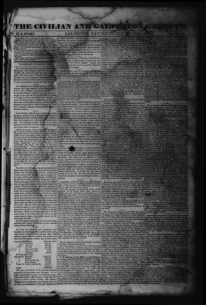 Primary view of object titled 'The Civilian and Galveston Gazette. (Galveston, Tex.), Vol. 6, Ed. 1 Saturday, October 14, 1843'.
