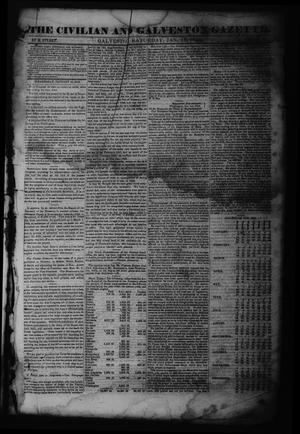 Primary view of object titled 'The Civilian and Galveston Gazette. (Galveston, Tex.), Vol. 6, Ed. 1 Saturday, January 13, 1844'.