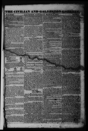 Primary view of object titled 'The Civilian and Galveston Gazette. (Galveston, Tex.), Vol. 6, Ed. 1 Saturday, March 9, 1844'.