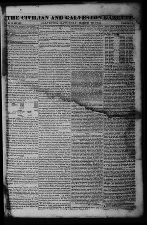 Primary view of object titled 'The Civilian and Galveston Gazette. (Galveston, Tex.), Vol. 6, Ed. 1 Saturday, March 16, 1844'.