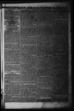 Primary view of object titled 'The Civilian and Galveston Gazette. (Galveston, Tex.), Vol. 6, Ed. 1 Saturday, July 13, 1844'.