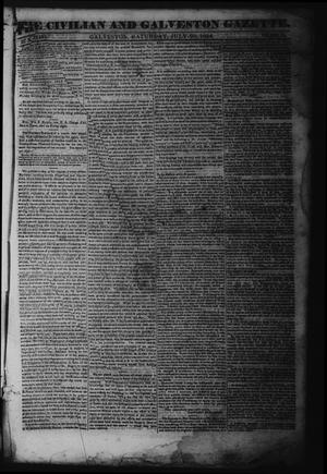 Primary view of object titled 'The Civilian and Galveston Gazette. (Galveston, Tex.), Vol. 6, Ed. 1 Saturday, July 20, 1844'.
