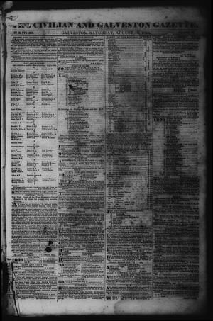 Primary view of object titled 'The Civilian and Galveston Gazette. (Galveston, Tex.), Vol. 6, Ed. 1 Saturday, August 10, 1844'.