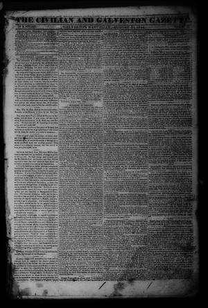 Primary view of object titled 'The Civilian and Galveston Gazette. (Galveston, Tex.), Vol. 6, Ed. 1 Saturday, August 31, 1844'.