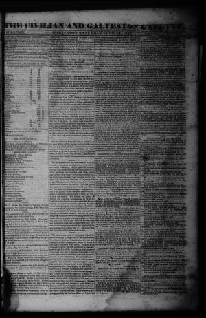Primary view of object titled 'The Civilian and Galveston Gazette. (Galveston, Tex.), Vol. 6, Ed. 1 Saturday, September 21, 1844'.