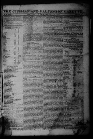Primary view of The Civilian and Galveston Gazette. (Galveston, Tex.), Vol. 6, Ed. 1 Saturday, October 5, 1844