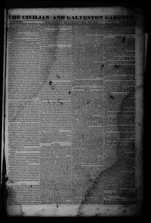 Primary view of object titled 'The Civilian and Galveston Gazette. (Galveston, Tex.), Vol. 4, Ed. 1 Saturday, October 19, 1844'.