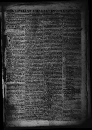 Primary view of object titled 'The Civilian and Galveston Gazette. (Galveston, Tex.), Vol. 6, Ed. 1 Saturday, December 14, 1844'.