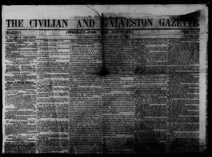 Primary view of object titled 'The Civilian and Galveston Gazette. (Galveston, Tex.), Vol. 13, Ed. 1 Tuesday, October 21, 1851'.