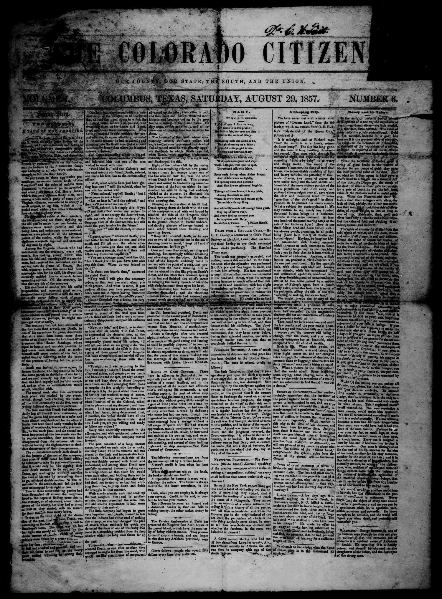 The Colorado Citizen (Columbus, Tex.), Vol. 1, No. 6, Ed. 1 Saturday, August 29, 1857                                                                                                      [Sequence #]: 1 of 4