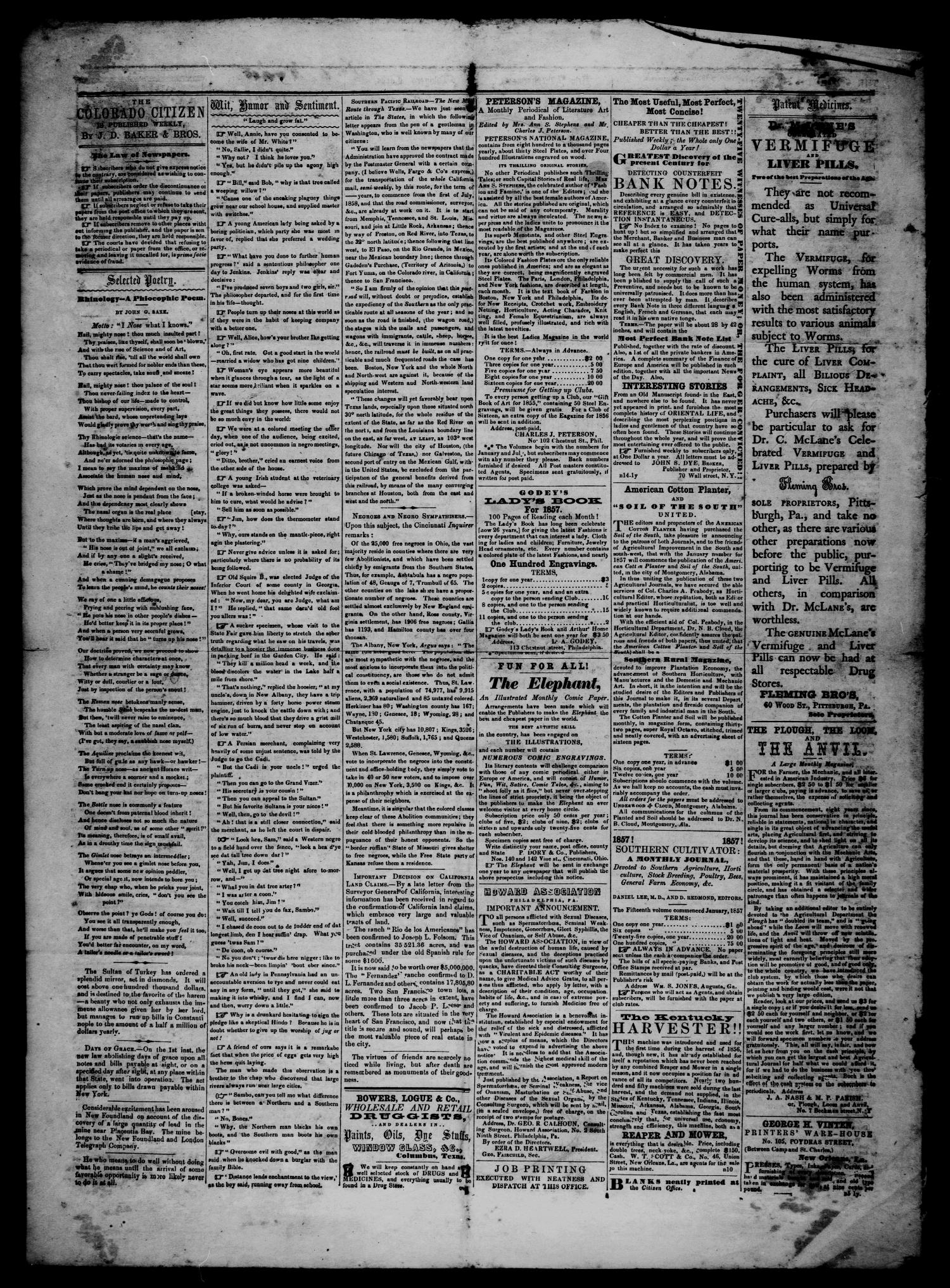The Colorado Citizen (Columbus, Tex.), Vol. 1, No. 6, Ed. 1 Saturday, August 29, 1857                                                                                                      [Sequence #]: 4 of 4