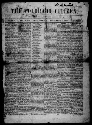 Primary view of object titled 'The Colorado Citizen (Columbus, Tex.), Vol. 1, No. 8, Ed. 1 Saturday, September 12, 1857'.