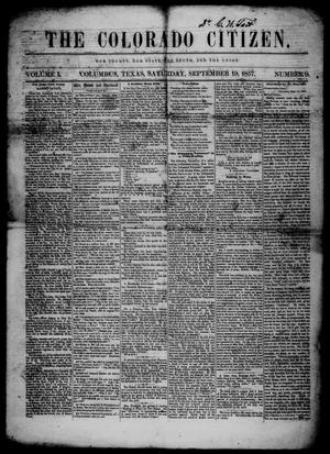 Primary view of The Colorado Citizen (Columbus, Tex.), Vol. 1, No. 9, Ed. 1 Saturday, September 19, 1857