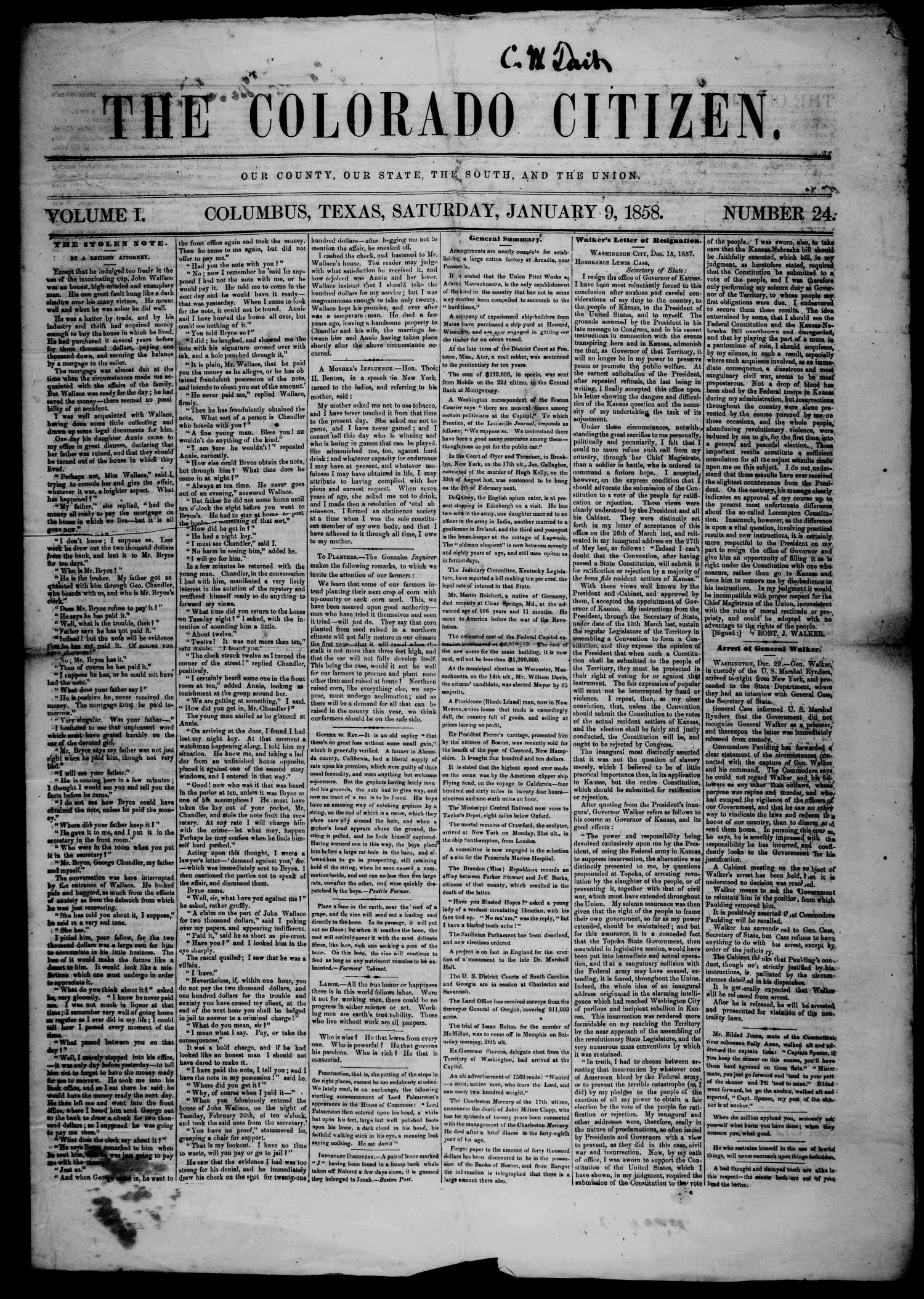 The Colorado Citizen (Columbus, Tex.), Vol. 1, No. 24, Ed. 1 Saturday, January 9, 1858                                                                                                      [Sequence #]: 1 of 4
