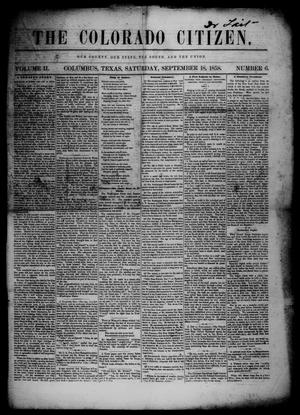 The Colorado Citizen (Columbus, Tex.), Vol. 2, No. 6, Ed. 1 Saturday, September 18, 1858