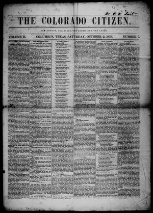 The Colorado Citizen (Columbus, Tex.), Vol. 2, No. 7, Ed. 1 Saturday, October 2, 1858