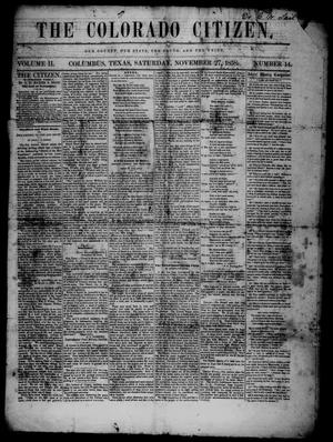 The Colorado Citizen (Columbus, Tex.), Vol. 2, No. 14, Ed. 1 Saturday, November 27, 1858