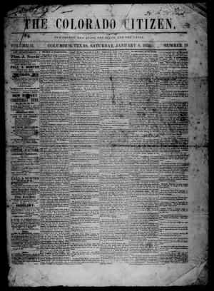 Primary view of object titled 'The Colorado Citizen (Columbus, Tex.), Vol. 2, No. 19, Ed. 1 Saturday, January 8, 1859'.