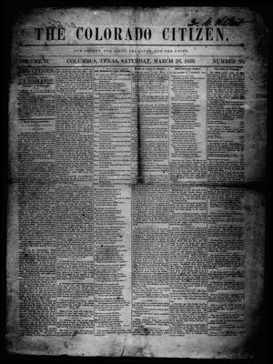 Primary view of object titled 'The Colorado Citizen (Columbus, Tex.), Vol. 2, No. 30, Ed. 1 Saturday, March 26, 1859'.