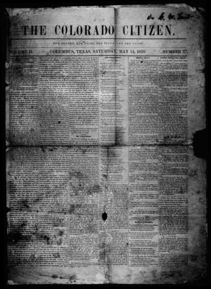 Primary view of object titled 'The Colorado Citizen (Columbus, Tex.), Vol. 2, No. 37, Ed. 1 Saturday, May 14, 1859'.