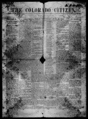 Primary view of object titled 'The Colorado Citizen (Columbus, Tex.), Vol. 2, No. 41, Ed. 1 Saturday, June 11, 1859'.