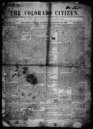 Primary view of object titled 'The Colorado Citizen (Columbus, Tex.), Vol. 2, No. 51, Ed. 1 Saturday, August 20, 1859'.