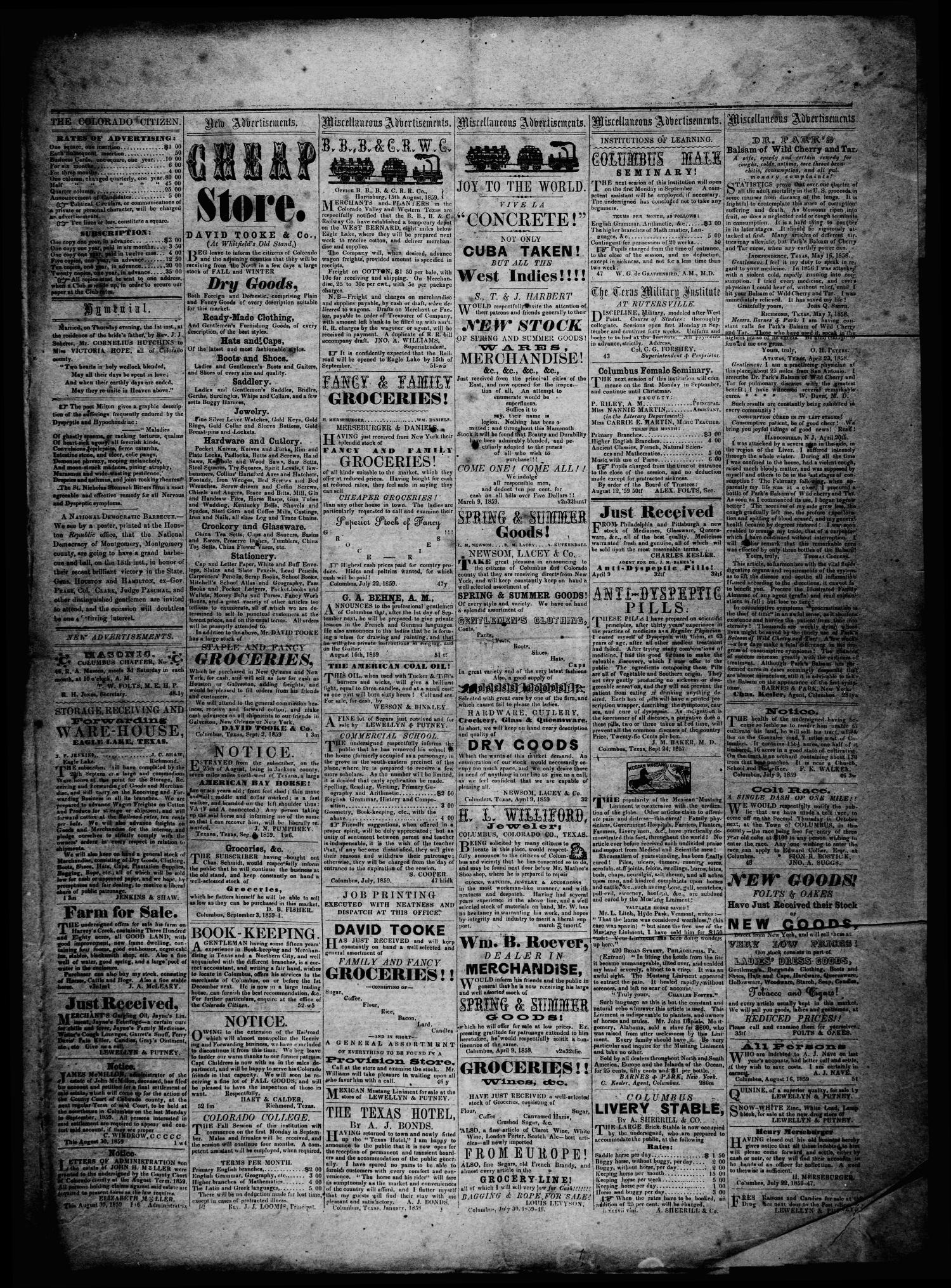 The Colorado Citizen (Columbus, Tex.), Vol. 3, No. 1, Ed. 1 Saturday, September 3, 1859                                                                                                      [Sequence #]: 3 of 4