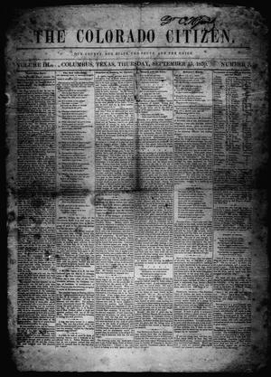 Primary view of object titled 'The Colorado Citizen (Columbus, Tex.), Vol. 3, No. 3, Ed. 1 Thursday, September 15, 1859'.