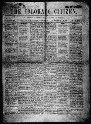 Primary view of object titled 'The Colorado Citizen (Columbus, Tex.), Vol. 3, No. 9, Ed. 1 Thursday, October 27, 1859'.