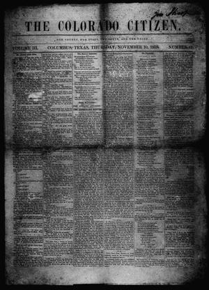Primary view of object titled 'The Colorado Citizen (Columbus, Tex.), Vol. 3, No. 11, Ed. 1 Thursday, November 10, 1859'.