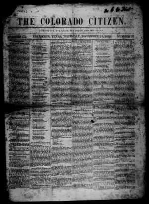 Primary view of object titled 'The Colorado Citizen (Columbus, Tex.), Vol. 3, No. 13, Ed. 1 Thursday, November 24, 1859'.
