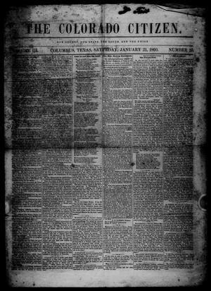 Primary view of object titled 'The Colorado Citizen (Columbus, Tex.), Vol. 3, No. 19, Ed. 1 Saturday, January 21, 1860'.