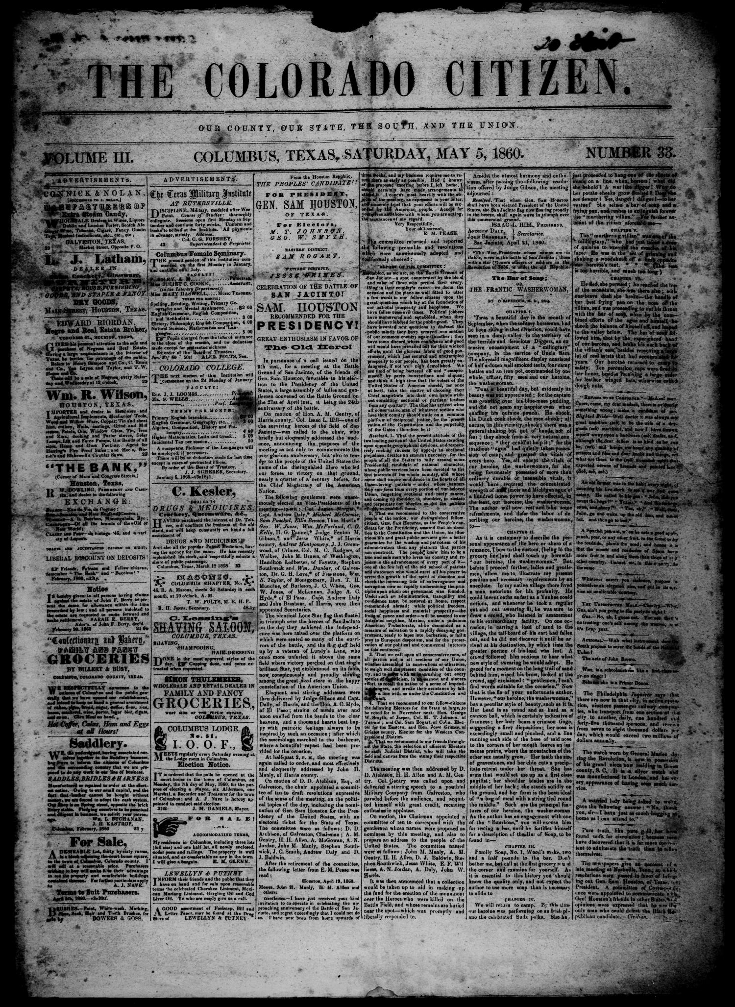 The Colorado Citizen (Columbus, Tex.), Vol. 3, No. 33, Ed. 1 Saturday, May 5, 1860                                                                                                      [Sequence #]: 1 of 4