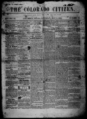 Primary view of object titled 'The Colorado Citizen (Columbus, Tex.), Vol. 3, No. 33, Ed. 1 Saturday, May 5, 1860'.